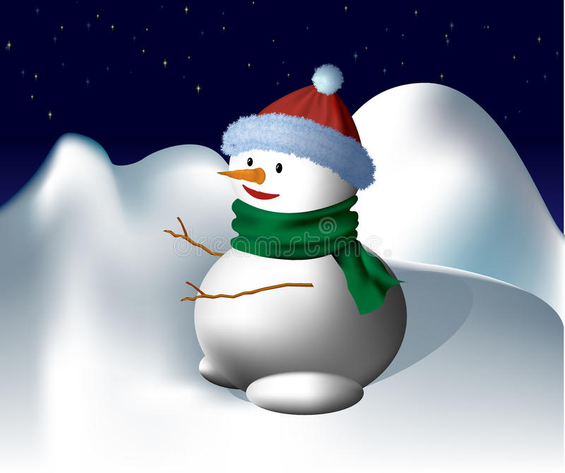 Sneeuwman onder de Sterren vector illustratie