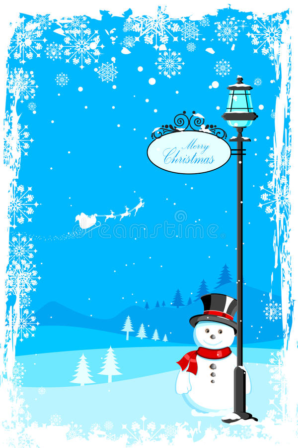 Sneeuwman onder lamppost vector illustratie