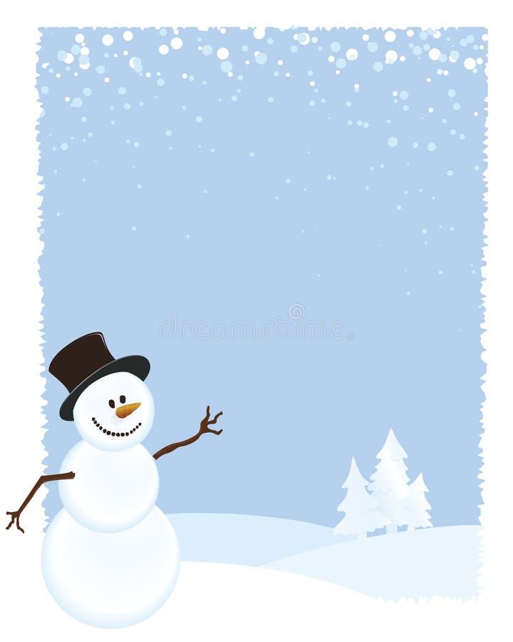 Sneeuwman op de Blauwe Achtergrond van de Scène van de Winter royalty-vrije illustratie