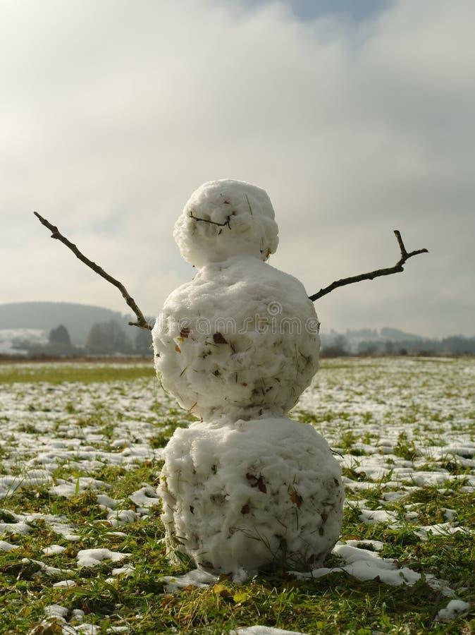 Sneeuwman op gras royalty-vrije stock afbeeldingen