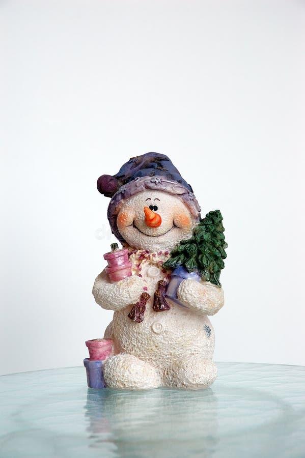 Sneeuwman op Ijs royalty-vrije stock afbeeldingen