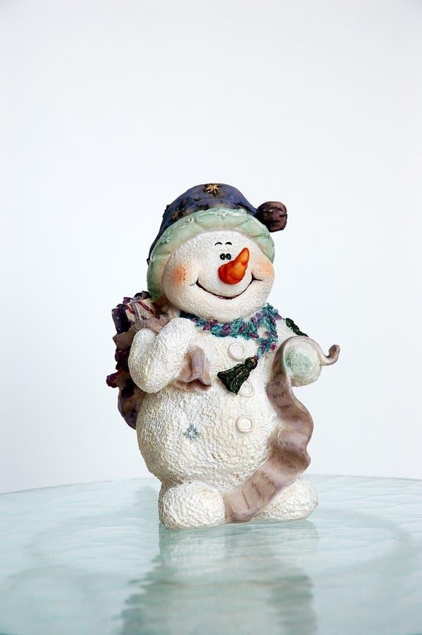 Sneeuwman op Ijs stock afbeelding