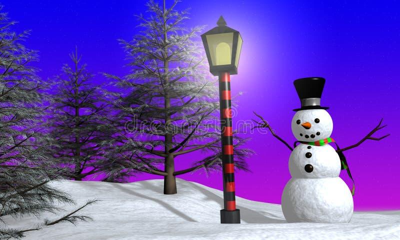 Sneeuwman op Kerstmis stock illustratie