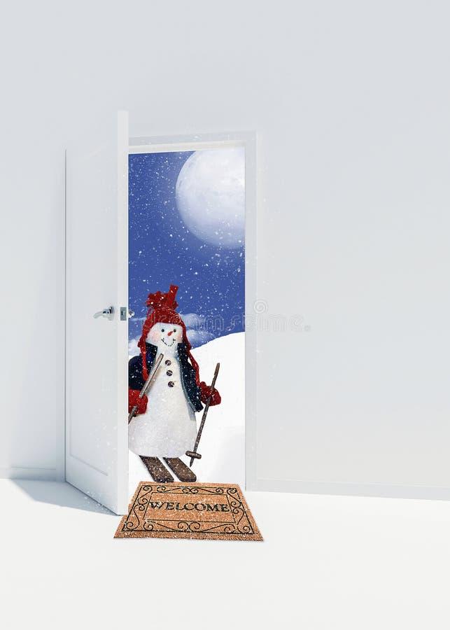 Sneeuwman op skis in deuropening stock illustratie