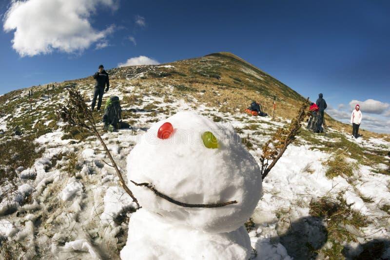 Sneeuwman, Sneeuwvrouw royalty-vrije stock afbeelding