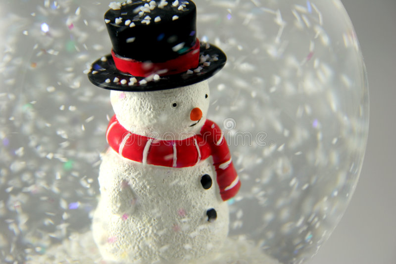 Sneeuwman in Snowglobe royalty-vrije stock afbeeldingen