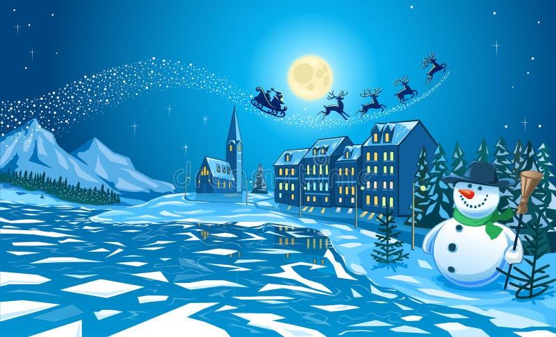Sneeuwman in Stad en Santa Klaus vector illustratie
