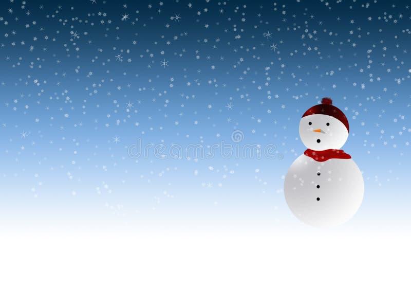 Sneeuwman in winterscene stock foto's