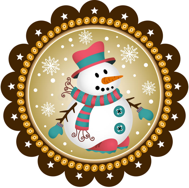 Sneeuwmanetiket stock illustratie