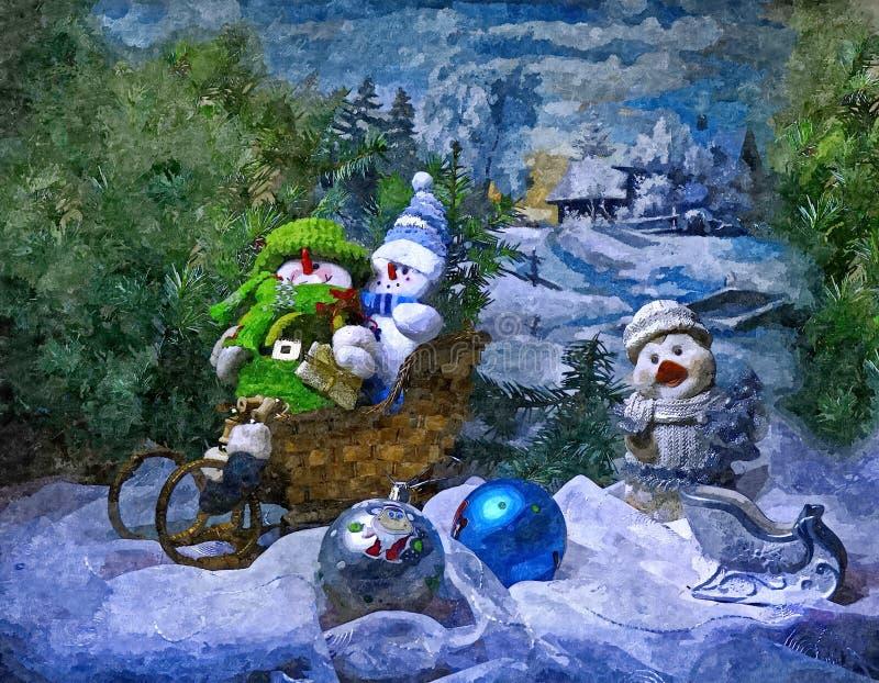 Sneeuwmannen en pinguïn om op een slee te berijden Het Stilleven van Kerstmis Het schilderen van natte waterverf op papier Naïef  stock illustratie