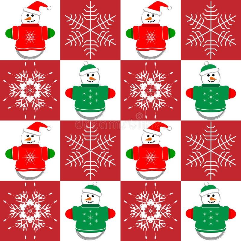 Sneeuwmannen en Sneeuwvlokken royalty-vrije illustratie