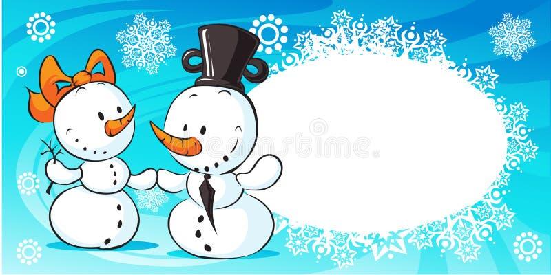 Sneeuwmannen in liefdebanner - vector vector illustratie
