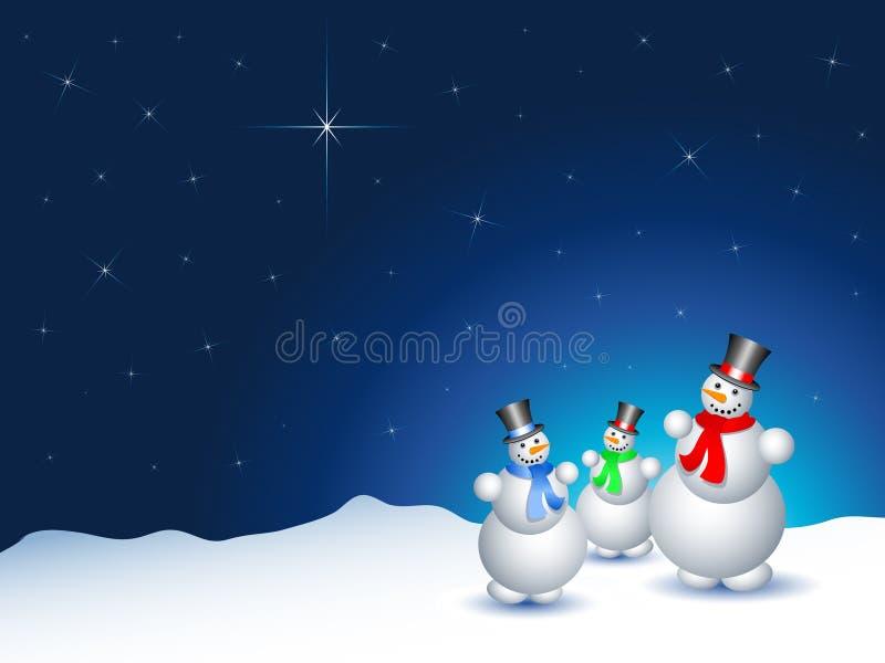 Sneeuwmannen op een sneeuwnacht royalty-vrije illustratie