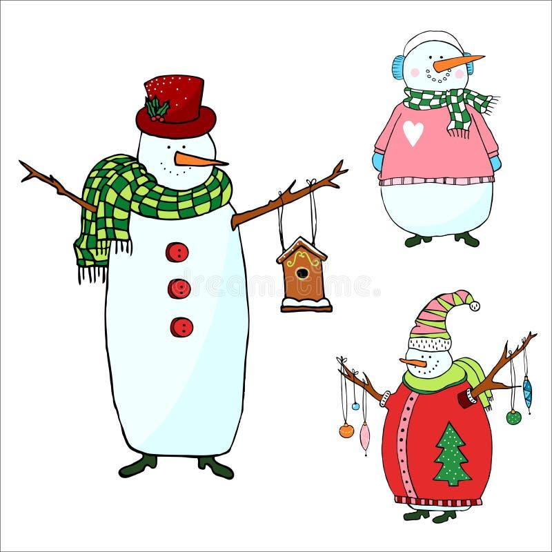 Sneeuwmannen op witte achtergrond, geïsoleerde sneeuwman voor Kerstmis worden geplaatst die vector illustratie