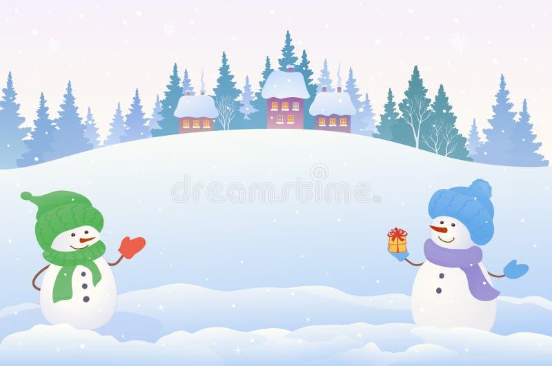 Sneeuwmannenachtergrond royalty-vrije illustratie
