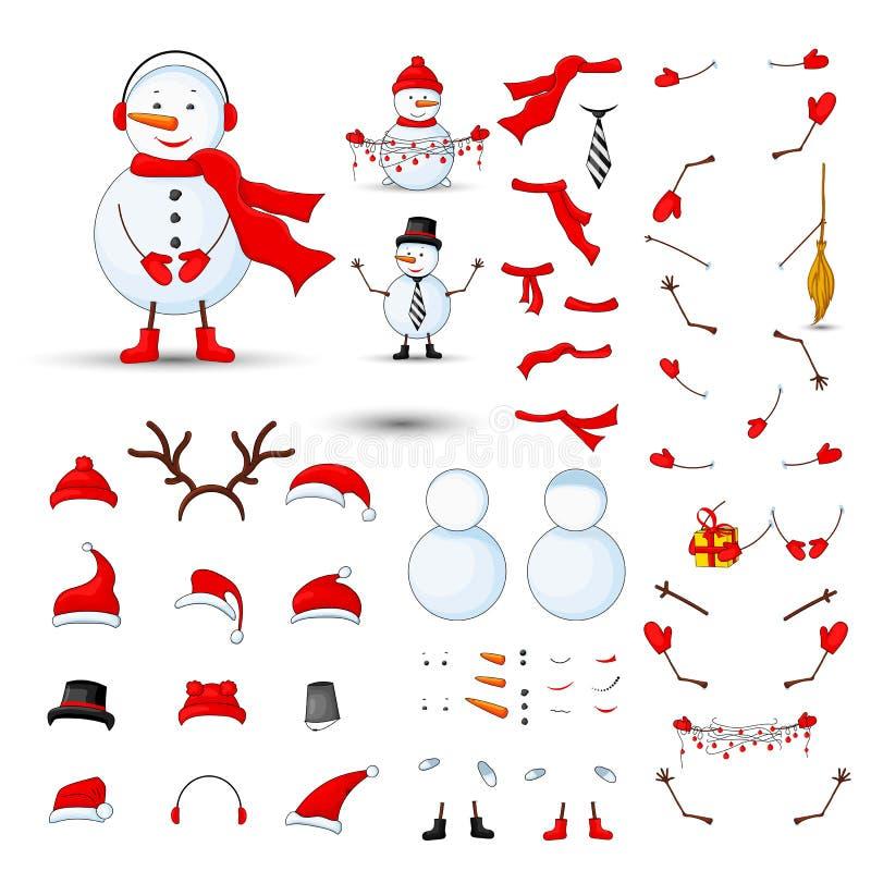 Sneeuwmannenlichaamsdelen, transformator op een wit geïsoleerde achtergrond wordt geplaatst die royalty-vrije illustratie