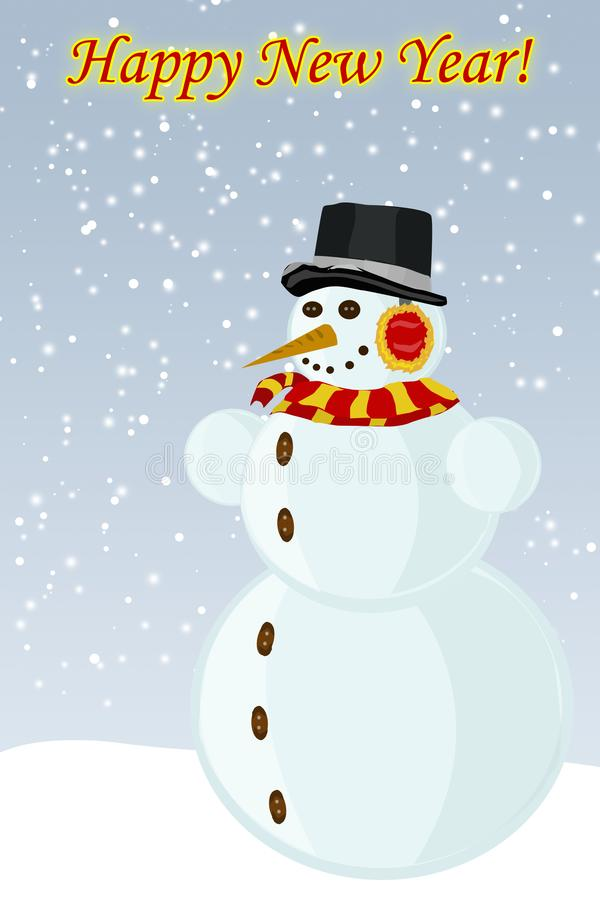 Sneeuwmannieuwjaar, het vectorbeeld vector illustratie