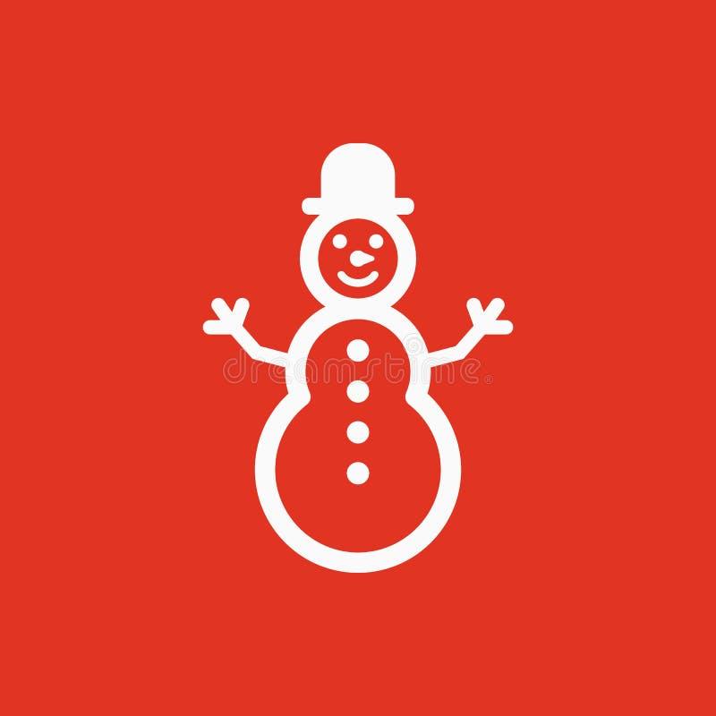 Sneeuwmanpictogram Nieuwe jaar en Kerstmis, Kerstmis, de wintersymbool Vlak Ontwerp Voorraad - Vectorillustratie royalty-vrije illustratie