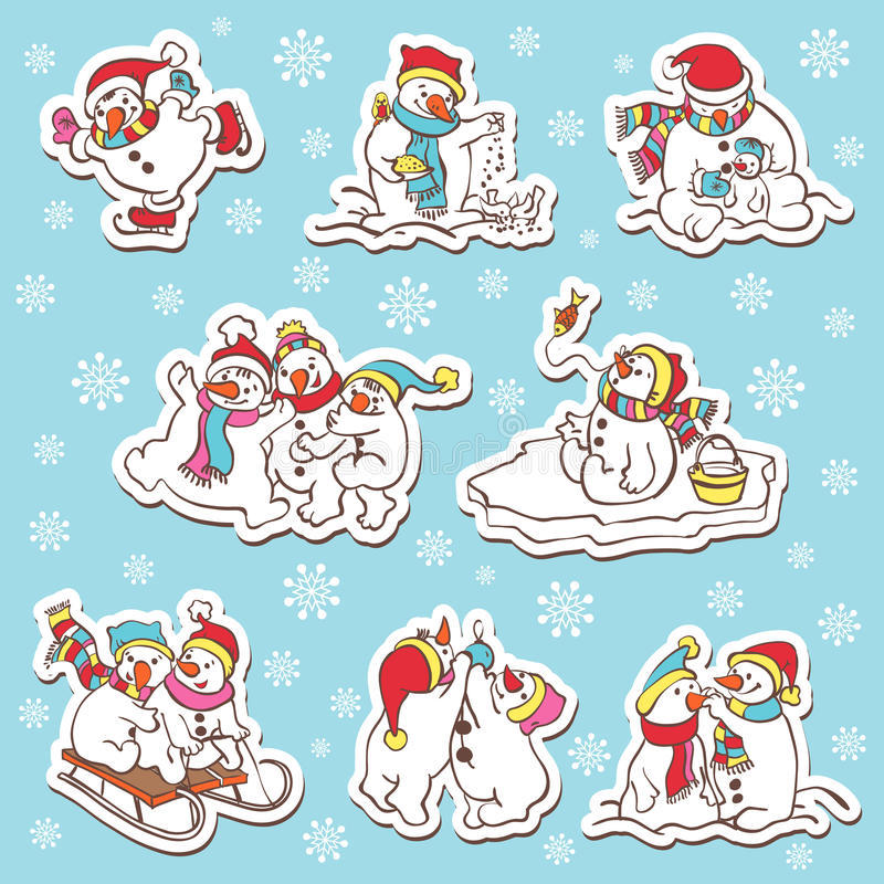 Sneeuwmanstickers. Vectorillustratie. stock illustratie