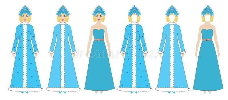 Sneeuwmeisjes, vector, de plaats van de Fotostreek, model vector illustratie