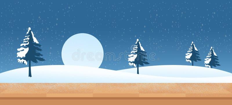 Sneeuwnachtachtergrond stock illustratie