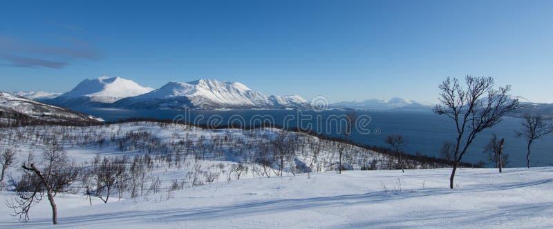 Sneeuwoever van Fjorden in Bakkejord, dichtbij Tromso Noorwegen, Maart 2019 royalty-vrije stock afbeeldingen