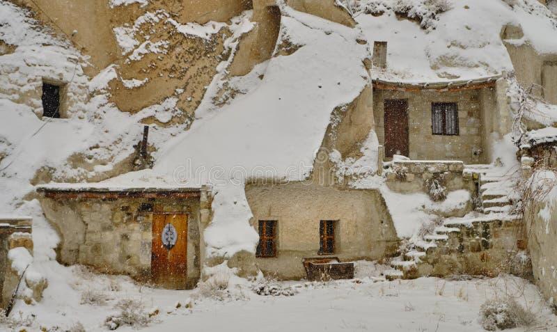 sneeuwonweer in Cappadocia stock afbeeldingen