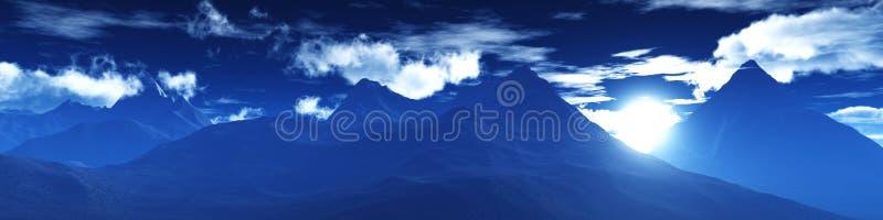 Sneeuwpieken Panorama van een berglandschap royalty-vrije illustratie