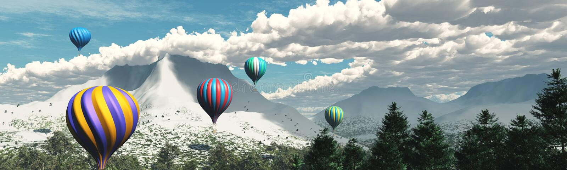 Sneeuwpieken Panorama van een berglandschap vector illustratie