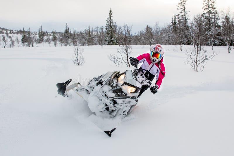 Sneeuwscooter, meisje, de roze winter, polaris royalty-vrije stock fotografie
