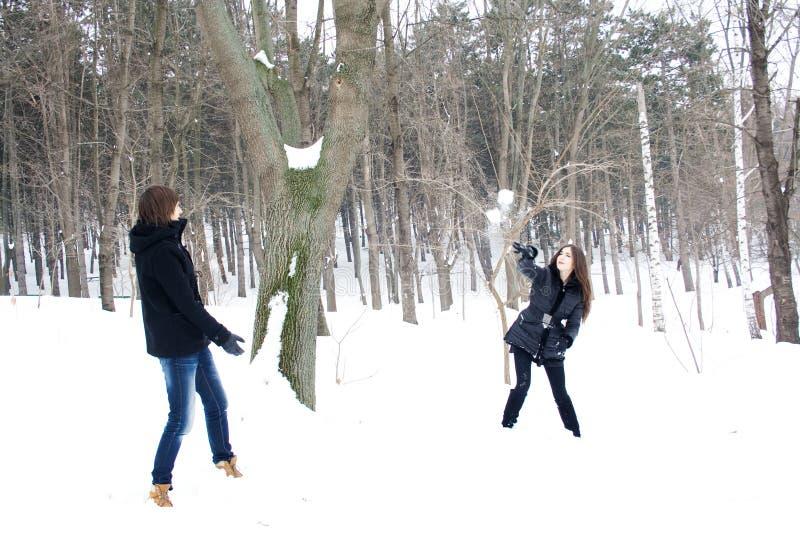 Sneeuwspel stock foto