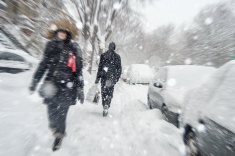 Sneeuwstorm in Montreal stock afbeelding