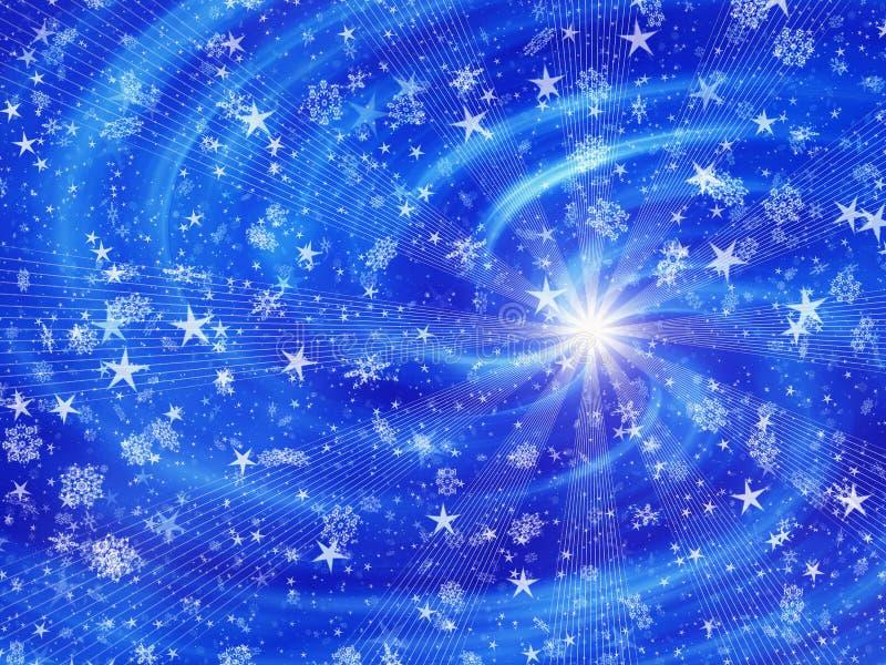 Sneeuwval en sterren op de achtergronden van flits lichte stralen vector illustratie