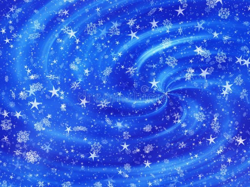 Sneeuwval en sterrenachtergronden van avondtijd stock illustratie