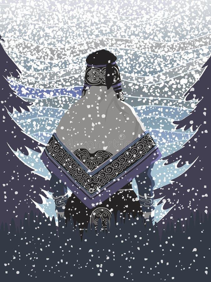 Sneeuwval in het bos stock illustratie