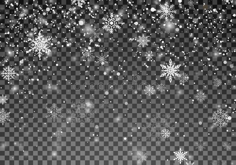 Sneeuwvalmalplaatje De sneeuw van Kerstmis Dalende sneeuwvlokken op transparante achtergrond De achtergrond van de Kerstmisvakant royalty-vrije illustratie