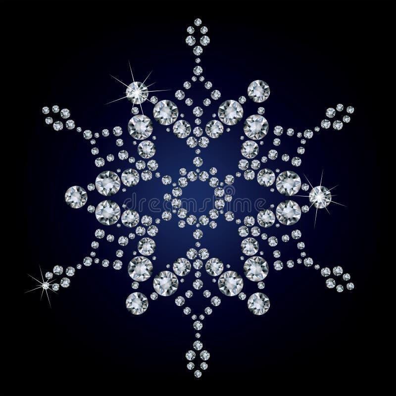 Sneeuwvlok die van diamanten wordt gemaakt stock illustratie