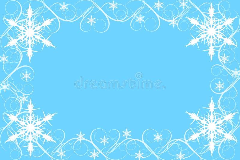 Sneeuwvlok en de Grens van de Werveling op Blauwe Achtergrond stock afbeeldingen