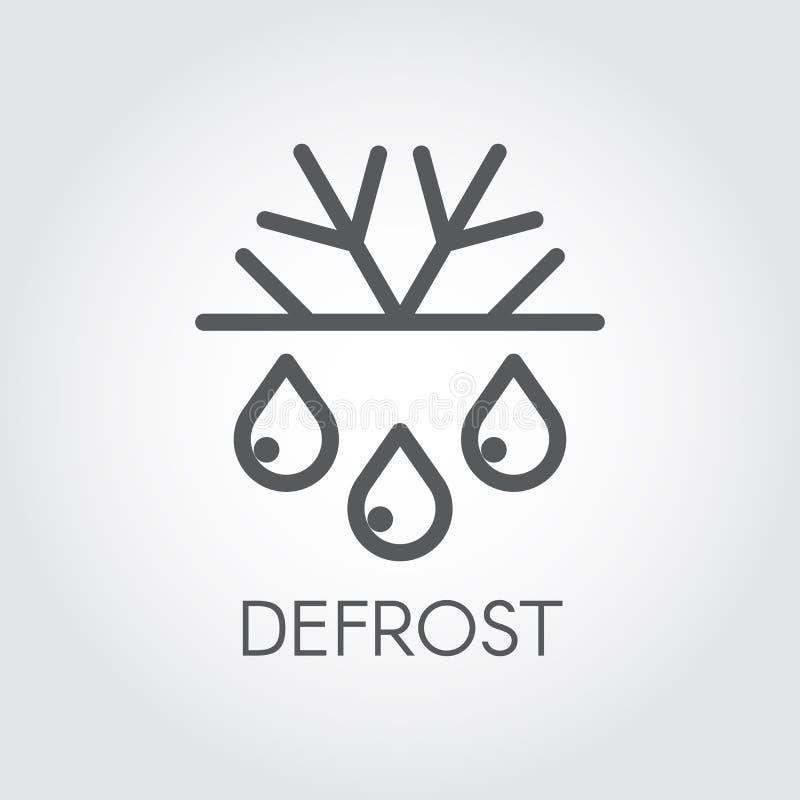 Sneeuwvlok en lineaire pictogram van de dalings het dunne slag Ontdooi en bevries conceptenembleem Symbool van koelkast of aircon royalty-vrije illustratie