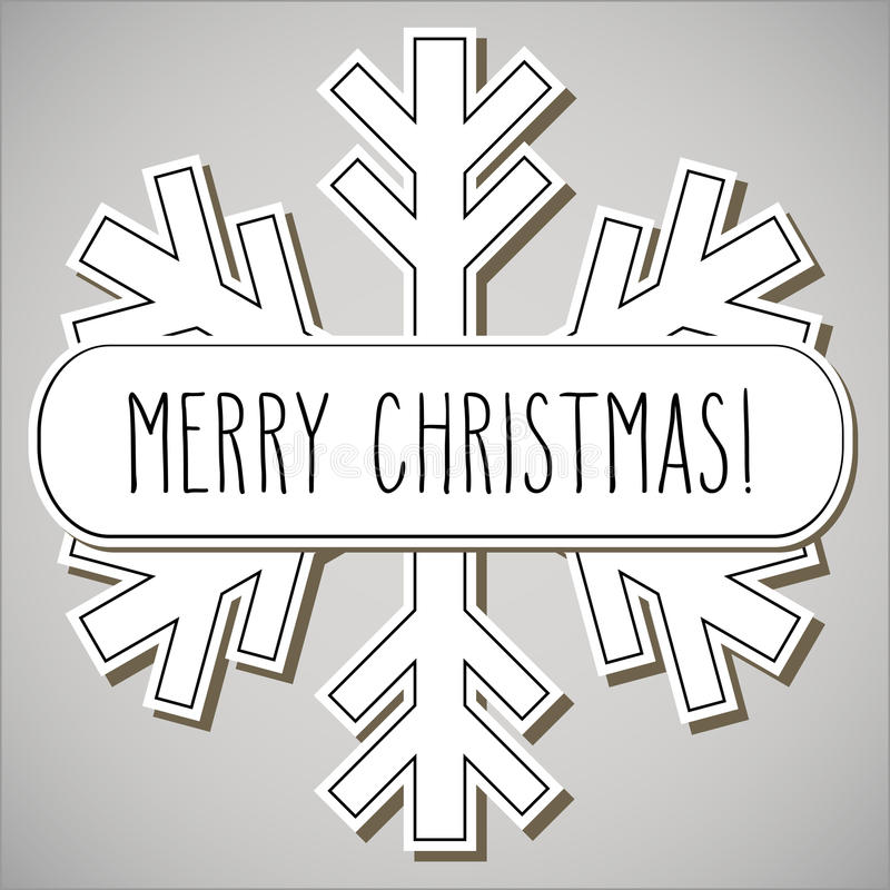 Sneeuwvlok en Vrolijke Kerstmis vector illustratie