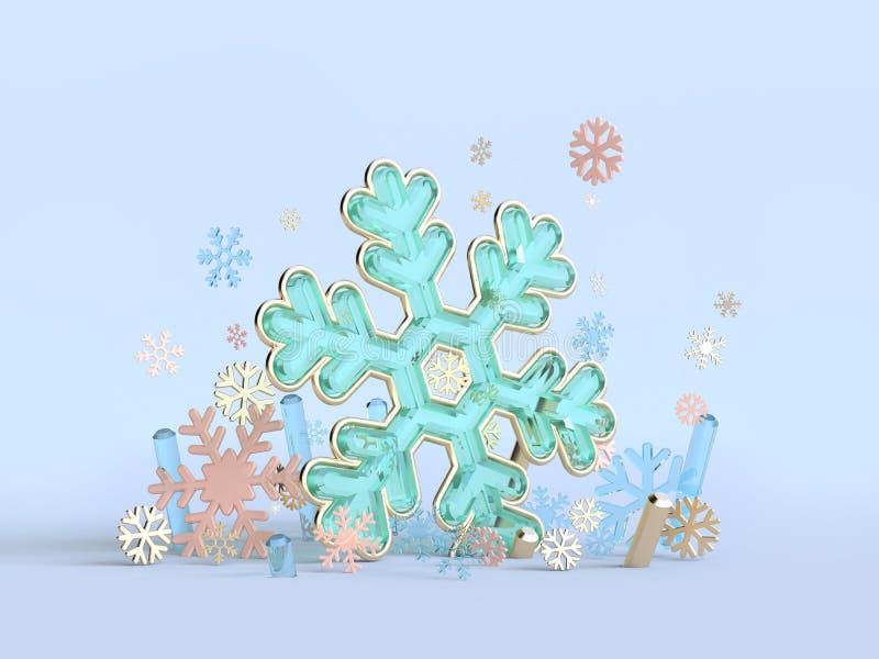 Sneeuwvlok het groenachtig blauwe abstracte duidelijke materiële 3d teruggeven stock foto's