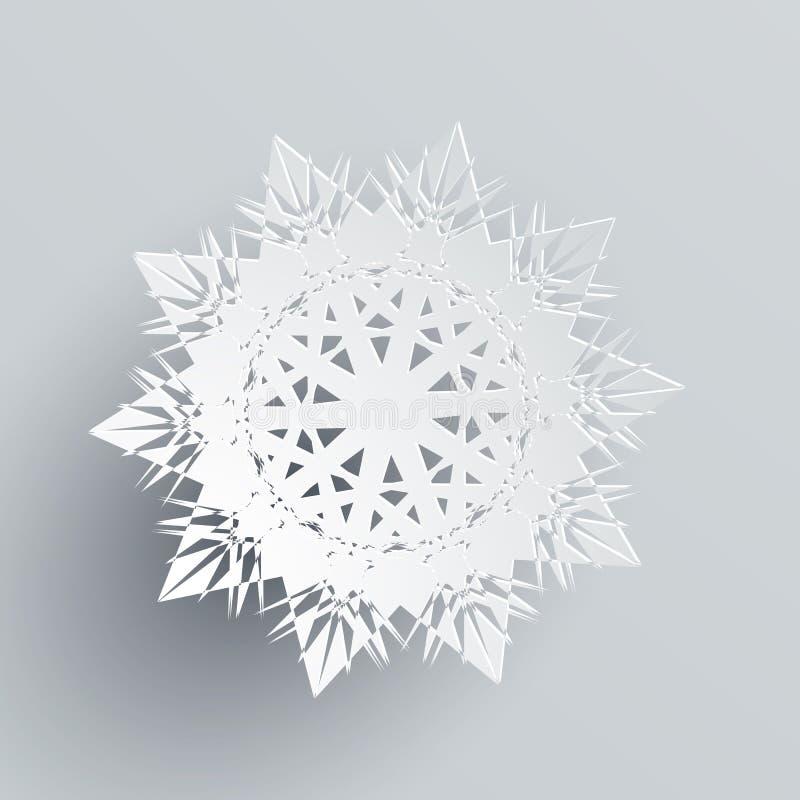 Sneeuwvlok op Zilver wordt geïsoleerd dat Realistische Vlok vector illustratie
