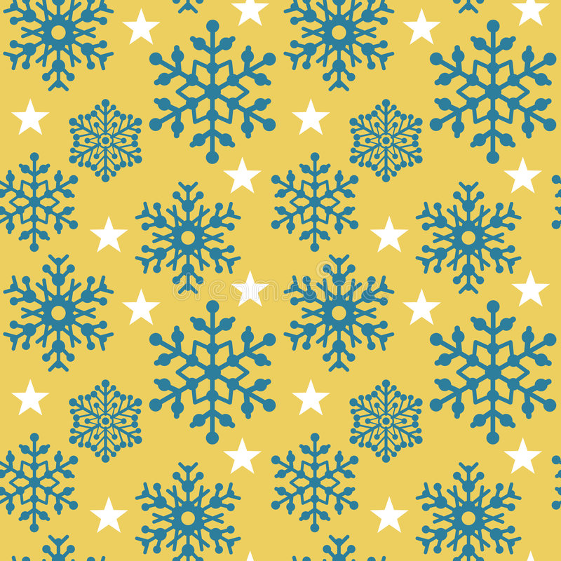 Sneeuwvlok Pattern_Yellow vector illustratie