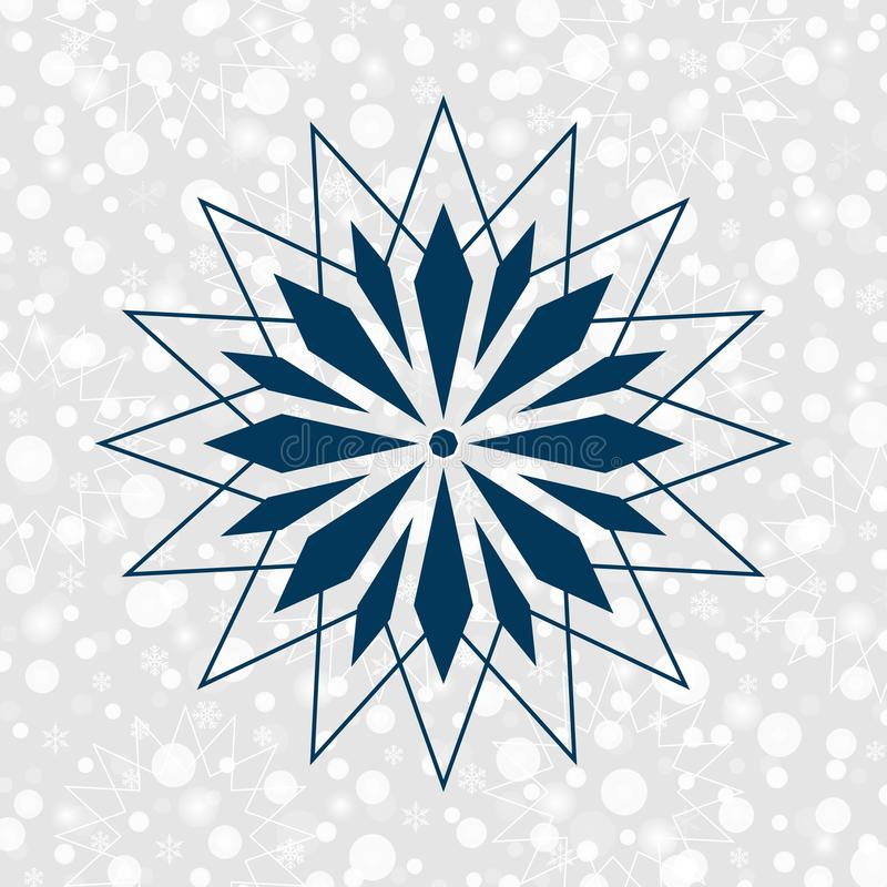 Sneeuwvlok vectorsymbool voor decoratie Vrolijke Kerstmis & Gelukkige Nieuwjaarachtergrond vector illustratie