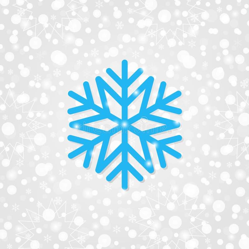 Sneeuwvlok vectorsymbool voor decoratie Vrolijke Kerstmis & Gelukkige Nieuwjaarachtergrond met fonkelingen, lichten de sneeuw van stock illustratie