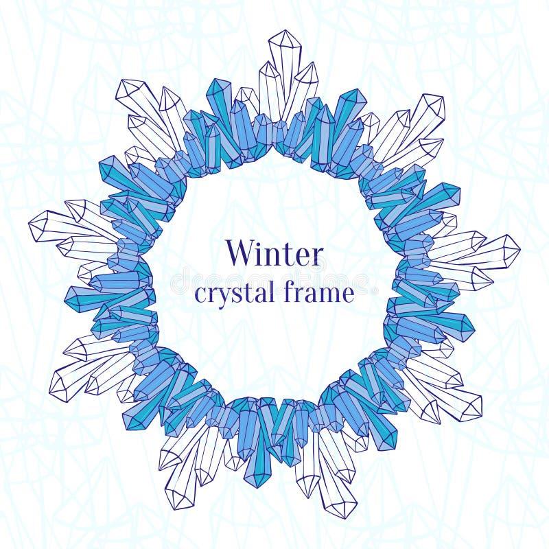 Sneeuwvlokkader De blauwe decoratie van ijskristallen stock illustratie