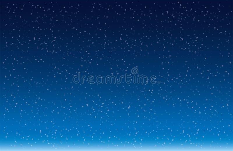 Sneeuwvlokken die tegen Blauwe vector vallen als achtergrond royalty-vrije illustratie