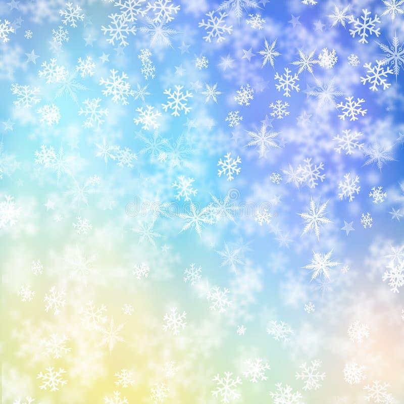 Sneeuwvlokken en sterren vector illustratie
