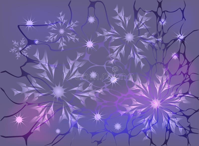 Sneeuwvlokken en sterren op een kleurrijke achtergrond royalty-vrije illustratie