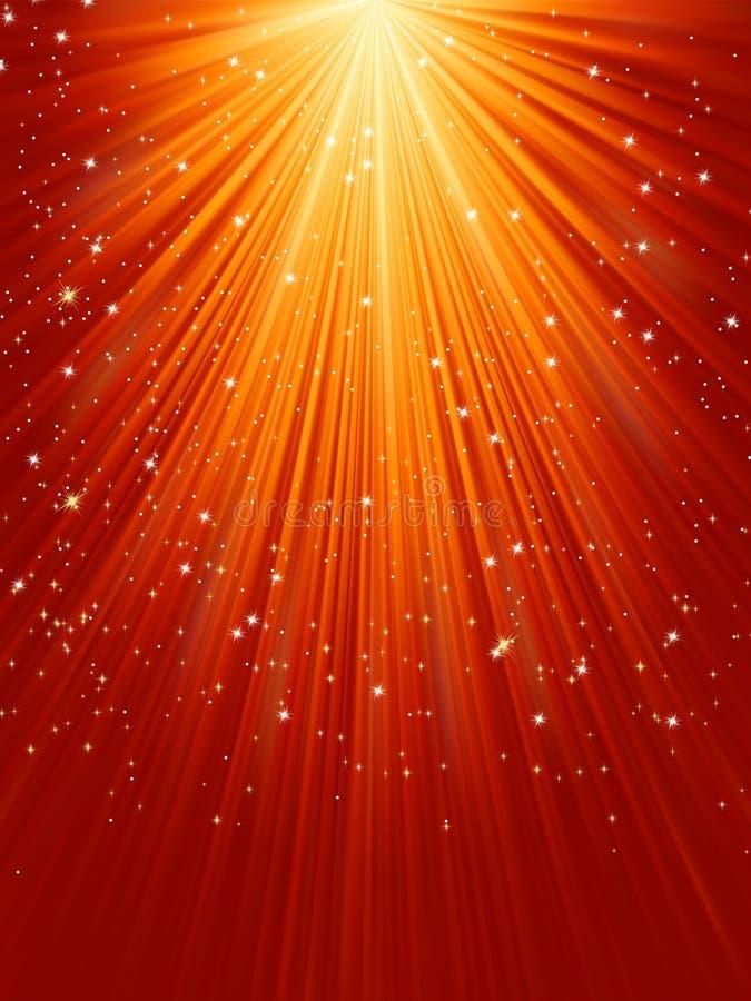 Sneeuwvlokken en sterren op gouden licht. EPS 8 royalty-vrije illustratie